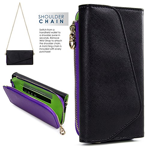 Kroo Samsung Z3, Galaxy S8 S7 S6 active S6 edge Case | Black/Royal Purple Universal Crossbody Clutch & Wristlet [Lovely Color Schemes]