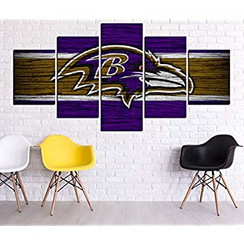 HD Print Oil Painting Home Decor Art on Canvas Baltimore Ravens Wooden Texture Multi-size Selection (Framed,60x32inch 5pcs)