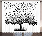 Cheap Lunarable Birds Curtains, A Flock of Crows Monochrome Illustration of Birds Flying into the Sky from a Tree, Living Room Bedroom Window Drapes 2 Panel Set, 108 W X 63 L Inches, Black White