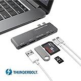 "Thunderbolt 3 Hub, Stouchi USB C Hub Combo Adapter, Thunderbolt 3 Dock 40Gb/s (PD Qucik charging) 6 in 1 TB3, USB-C 3.0 port, microSD/SD, 2 USB 3.1 Ports for 2016/ 2017 MacBook Pro 13"" / 15""Space Gray"