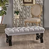 Reddington Light Grey Tufted Fabric Ottoman Bench