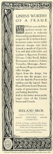 1923 Ad Ireland Bros Hand Woven Linen Damasks Home Decor Louis XVI Celtic Scroll - Original Print - Ireland Gifts Corporate