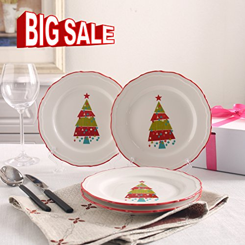 {NEW ARRIVAL}SOLECASA 7.5-inch Set of 4 White Porcelain/Ceramic Round Dinner Serving Plate,Salad/Pizza/Bread/Dessert Serving Plate in Christmas Design (Christmas Desserts)