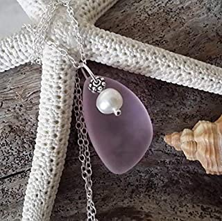 "product image for Handmade sea glass jewelry from Hawaii,""October Birthstone Color"" pink sea glass necklace, Freshwater pearl, (Hawaii Gift Wrapped, Customizable Gift Message)"