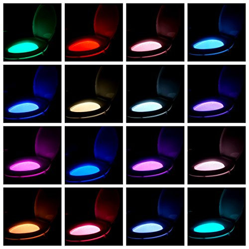 2 Pack Rechargeable 16-Color Toilet Night Light, Motion Sensor LED Bowl Light, Novelty Cool Funny Birthday Gag Gadget Gifts Ideas for Adult Kids Men Dad Boys Toddlers Mom - by Witshine by Witshine (Image #6)