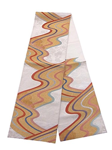 スリップほかに感性リサイクル 袋帯 流水に枝垂れ桜文 正絹 六通