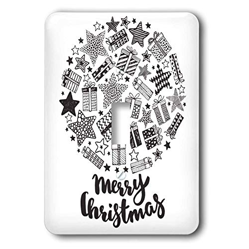 3dRose Anne Marie Baugh - Christmas - Cute Black and White Present Merry Christmas Snow Globe Illustration - double toggle switch (lsp_318559_2)
