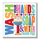 Stupell Home Décor Wash With Soap And Water Colorful Bathroom Wall Plaque, 12 x 0.5 x 12, Proudly Made in USA