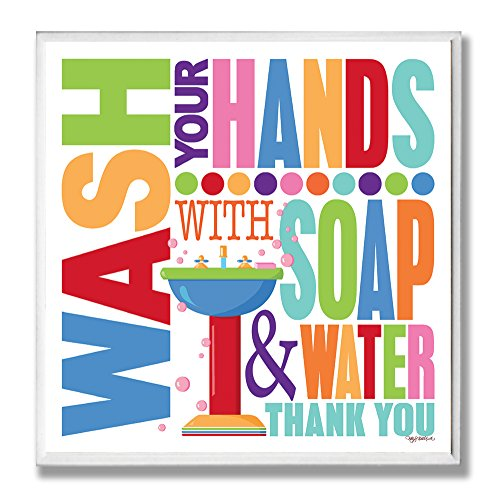 The Stupell Home Décor Collection Wash With Soap And Water Colorful Bathroom Wall Plaque, 12 x 0.5 x 12, Proudly Made in USA made in Rhode Island