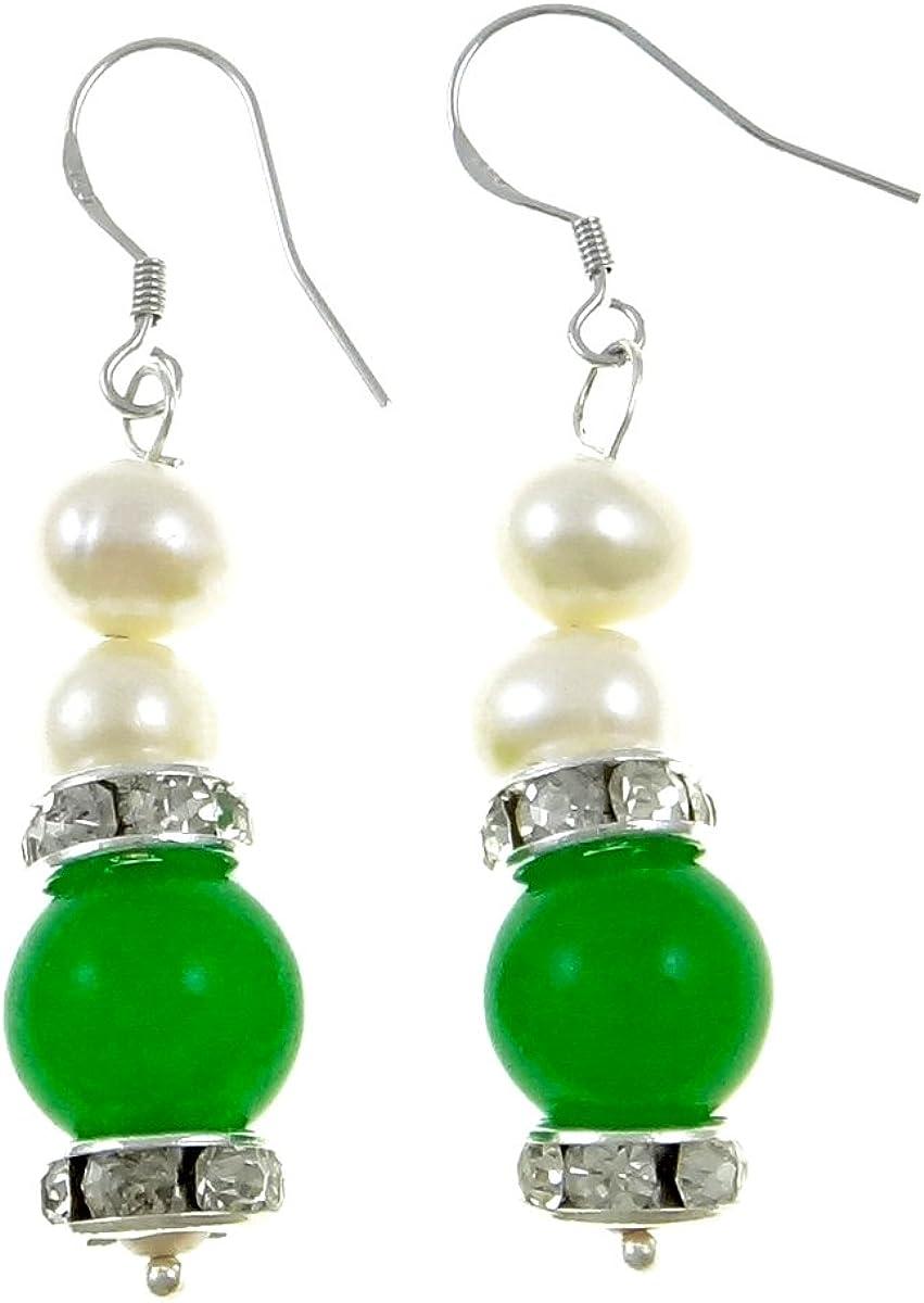 StunningBoutique - Pendiente de cristal con cristales de jade y perlas blancas de agua dulce y jade con cristales de jade y circonitas para mujer, presentado en una bonita caja de regalo