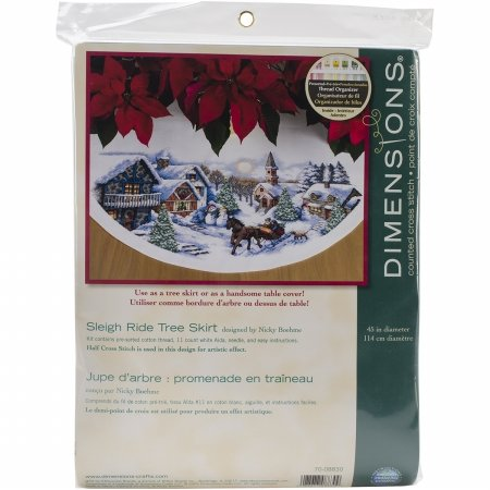 """Sleigh Ride Tree Skirt Counted Cross Stitch Kit-45"""" Round 11 Count"" Dimensions"