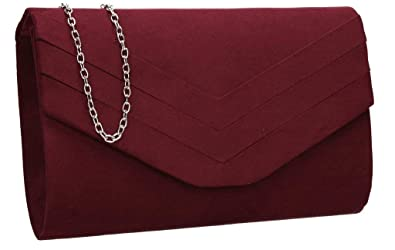 ef8b13bb23 Olie Faux Suede Envelope Clutch Bag - Burgundy  Amazon.co.uk  Shoes ...