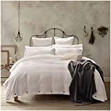 New!100-Percent Natural Washed Cotton Duvet Cover Set, Extremely Durable & Easy Care, Hypoallergenic (Queen, Off-White)