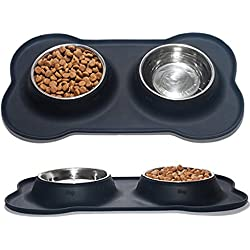 Nighthawk Small Dog | Cat Bowls Set of 2 Stainless Steel Bowls with Non-Skid & No Spill Silicone Dish Holder for Small Dogs Cats Puppies Kitten, pet Supplies Dish Washer Safe, Food Grade Silicone
