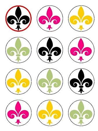 Twelve 2 Fleur De Lys Pattern Edible Image Cup Cake Toppers