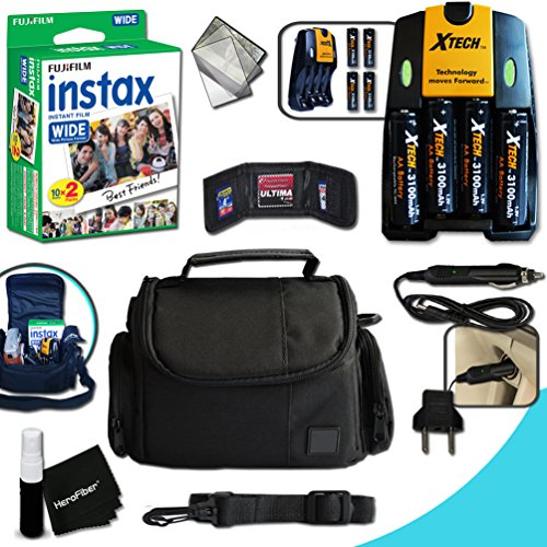 Complete ACCESSORIES KIT for Fujifilm Instax Wide, Instax 210 WIDE, Instax 300 WIDE w/ 20 Instax WIDE Film + Custom Fit Case + 4AA Batteries (3100mAH) + AC/DC Quick Charger + MORE (Fuji Instax Wide Camera Case)