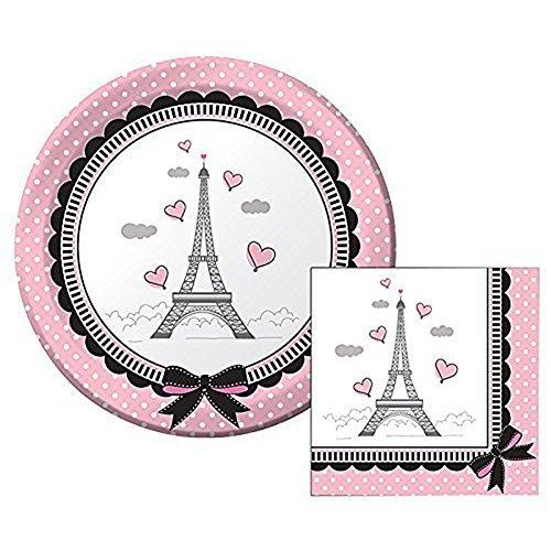 Creative Converting Party in Paris Themed Dessert Napkins & Plates Party Kit for 8 - Paris Dessert Plate
