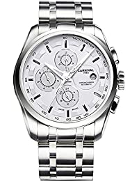 Mens 25 Jewels Automatic Watches with Sapphire Mirror Transparent Back Cover 24 Hours Calendar White