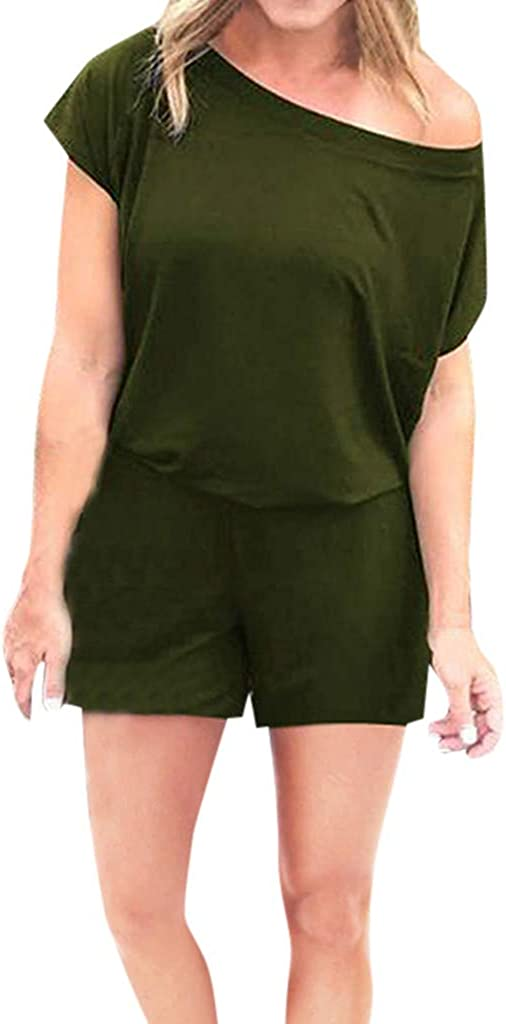 Womens Rompers and Jumpsuits Summer Crewneck One Off Shoulder Short Sleeve Elastic Waist Playsuits with Pockets