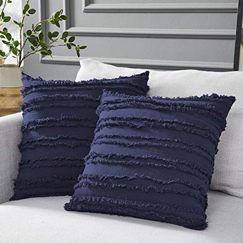 Longhui bedding Navy Blue Throw Pillow Covers for Couch Sofa Bed, Cotton Linen Decorative Pillows Cushion Covers, 18 x 18 inches, Set of 2 (Blue Navy Cushions)