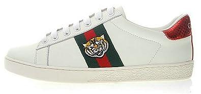 Gucci Ace Embroidered Tiger White Blanco Cuero Zapatillas Hombre