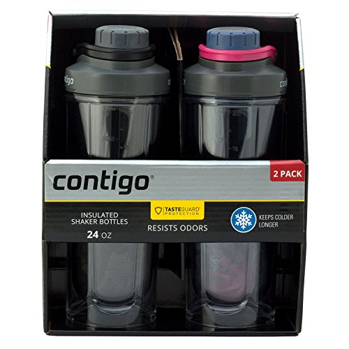 Contigo Shake & Go Fit Shaker Bottles, BPA- Free, Leak-Proof Lid, Double Wall Insulated Tritan Plastic, 24oz, 2 Pack (Black/Dusted Navy)