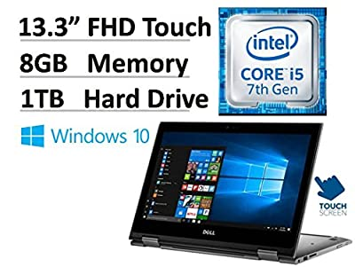 "2017 NEW Signature Edition Dell Inspiron 13.3"" 2-in-1 Convertible FHD IPS Touchscreen Laptop (Tablet) - Intel i5-7200U up to 3.1GHz, 8GB RAM, 1TB HDD, Backlit Keyboard, 802.11ac, Webcam, Windows 10"