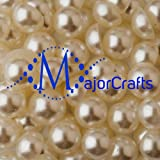 MajorCrafts 100pcs Cream Ivory 10mm Flat Back Resin Pearls, Beads, Gems