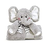 Bearington Baby Lil' Spout Cuddle Me Sleeper, Gray Elephant Stroller & Security Blanket 28.5  x 28.5