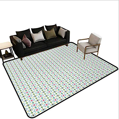 Printed Carpet Colorful,Tile Squares with Flowers and Stars in Many Colors Vintage Geometric Illustration,Multicolor