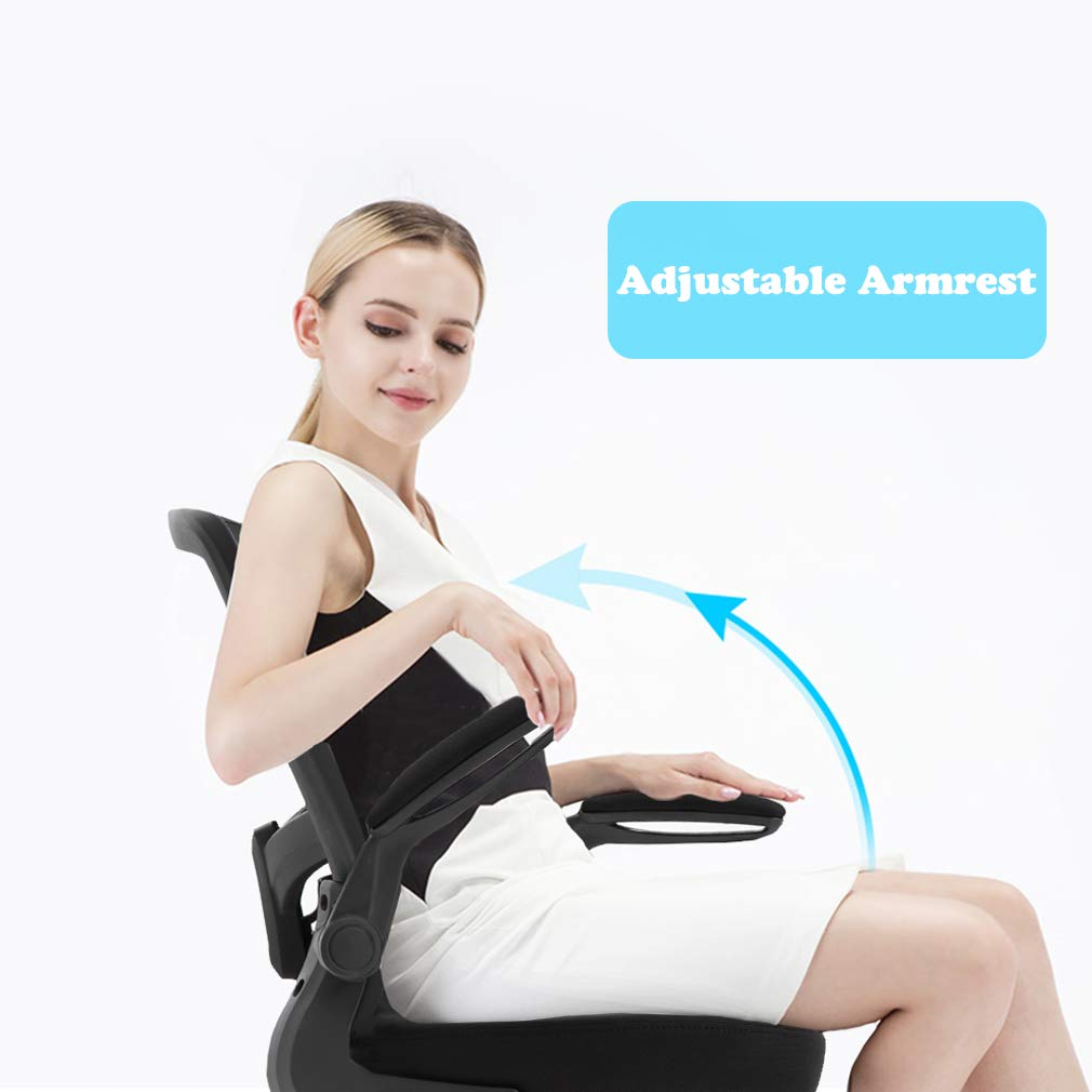 Ergonomic Office Chair Cheap Desk Chair Mesh Computer Chair with Lumbar Support Flip Up Arms Swivel Rolling Adjustable Mid Back Computer Chair for Women Men Adults,Black by BestOffice (Image #2)