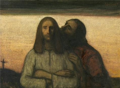 'Jakob Smits - The Judas Kiss,20th Century' Oil Painting, 12x16 Inch / 30x42 Cm ,printed On High Quality Polyster Canvas ,this Best Price Art Decorative Canvas Prints Is Perfectly Suitalbe (Leg Emulsion)