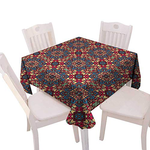 Stained Glass Cowboy - Cheery-Home Square Polyester Tablecloth Suitable All Occasions,(W54 x L54) Vintage Arabic Indian Design Inspired Stained Glass Design Like Coloful Vivid Image Artwork Multicolor.