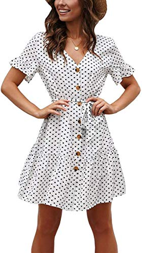 (Vansha Womens Polka Dot Pleated Short Dress Casual V Neck Ruffle Sleeve Button Beach Dresses (White, Medium))