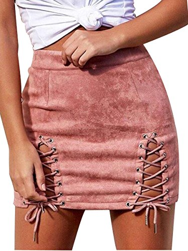 Royalove Lady's Sexy Lace Up Bodycon Faux Suede Fashion Cutout Mini Skirt Pink (Cut Out Mini Skirt)