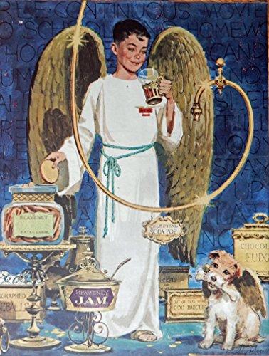 Alex Ross, 50's Full Page Color Illustration, print art (junior angel / Heavenly Jam, cookies, dog biscuits,fudge, soda pop) Original Vintage 1953 Collier's Magazine - Junior Alex