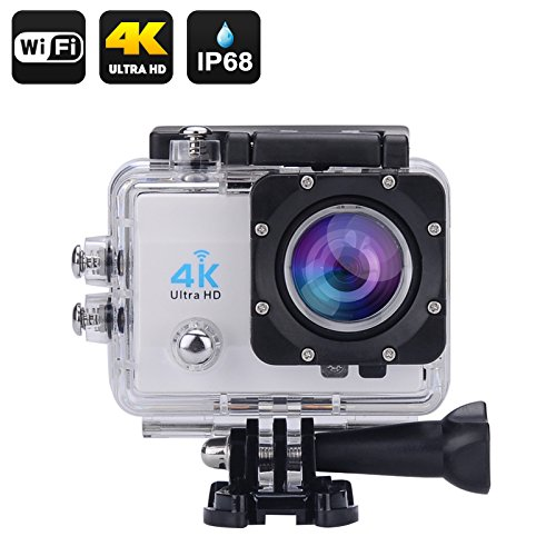 4 K Wi Wasserdichte Sport Action Kamera – 5,1 cm LCD-Display, 4 K Ultra HD, 16 MP, HDMI Out, 170 Grad Weitwinkel (Silber)