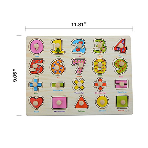 Wooden Jigsaw Peg Puzzle Board Toy, Moonvvin Number Educational Puzzles for Toddlers Learning Math Shapes & Color Recognition Toy