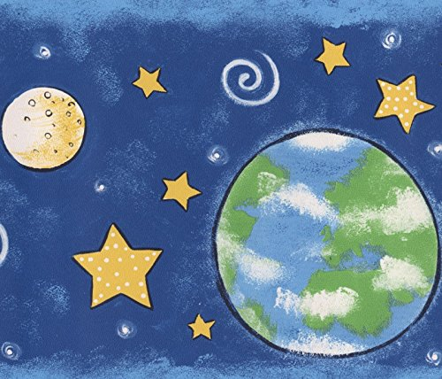 Blue Space Wallpaper Border (Outer Space Planets Stars Navy Blue Wallpaper Border for Kids, Roll 15' x 7'')