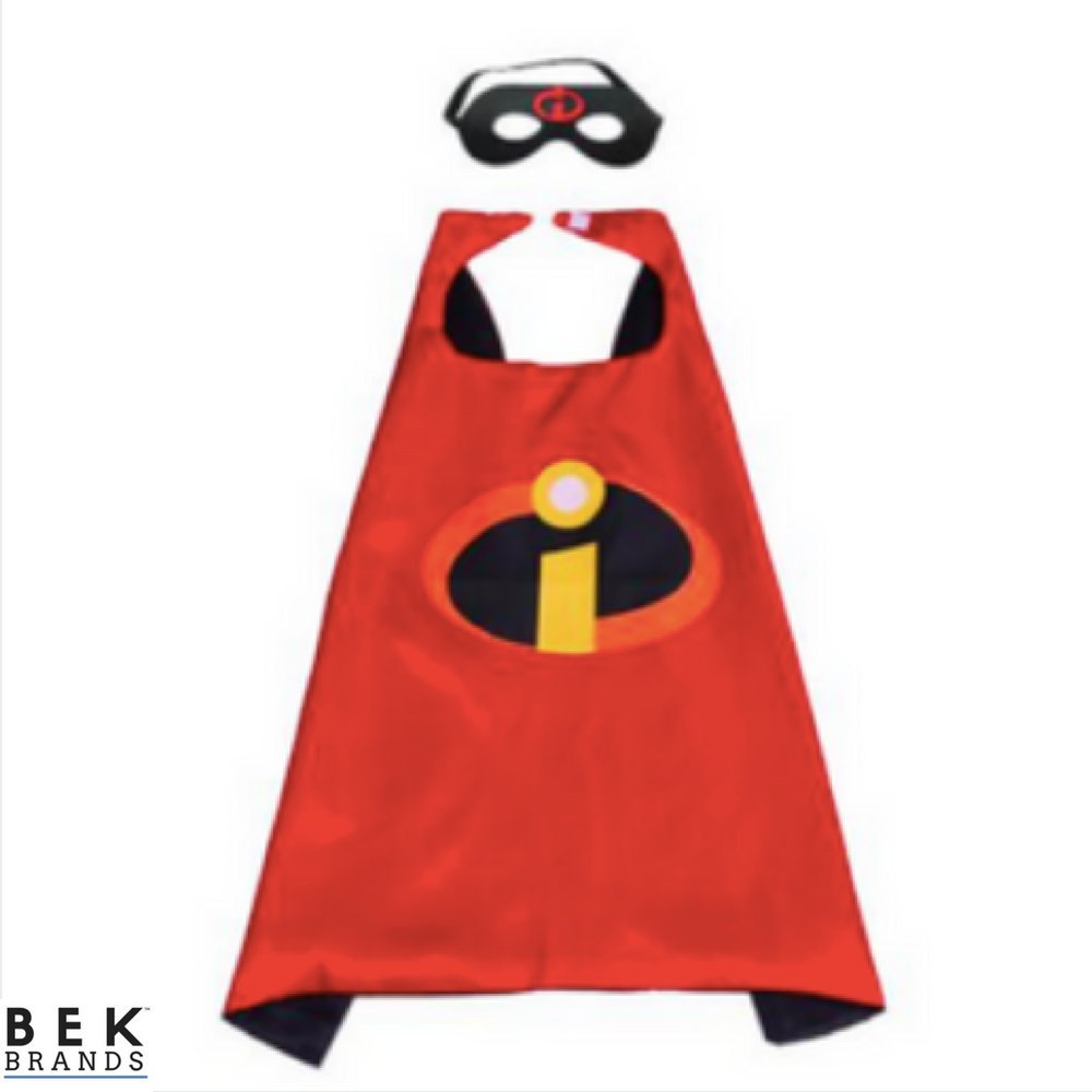 Bek Brands Childrens Superhero Costume Cape and Mask Sets (Incredibles)