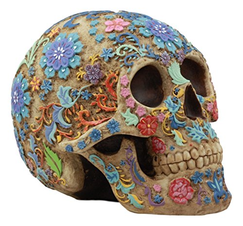 Ebros Colorful Day Of The Dead Floral Sugar Skull Statue Dias De Los Muertos Flora And Fauna Flower Skeleton Head Sculpture -