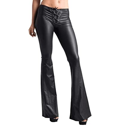BOLUOYI Crop Yoga Pants for Women Womens Sexy Lace Elastic Faux Leather Leggings Flared Pants Black S