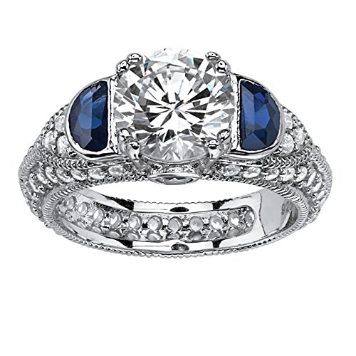 White Cubic Zirconia and Lab Created Blue Sapphire Platinum over .925 Silver Milgrain Ring Size 9