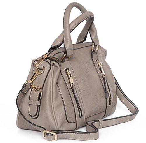 High Quality Faux Leather Top Handle Shoulder Bag with Shoulder strap Ash Grey