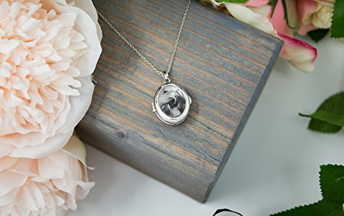 Sterling Silver-Glass-Custom Photo Locket Necklace-36-inch chain-The Ginny by With You Lockets by With You Lockets (Image #4)