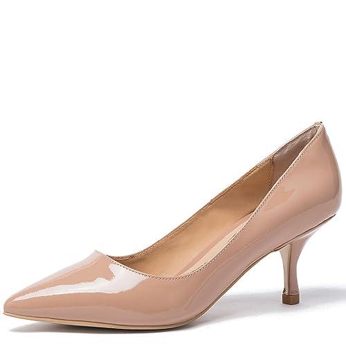 precio loco estilo moderno servicio duradero Mujer Zapatos Tacon Medio Ladies Oficina Zapato Charol Cuero Cerrado Sexy  Punta Aguja Tallas Grandes (38.5, nude patent without buckle)