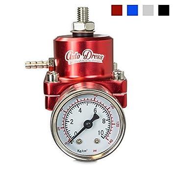 Regulador de presión de combustible de Auto-Dress para coche universal + manómetro 0 - 7 bar ajustable en rojo: Amazon.es: Coche y moto