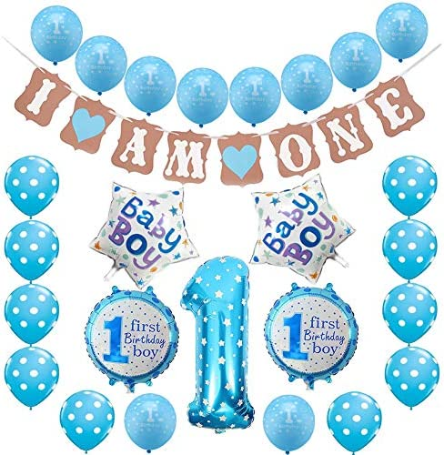 Blue Happy Banner Latex and... Toupons 1st Birthday Decorations for Baby Boy