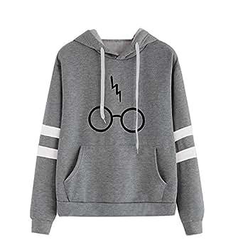 JIAJIA YL Mujeres Camisetas Manga Larga Varsity Gafas de Harry Potter Encapuchado Camisa de Entrenamiento Sudaderas