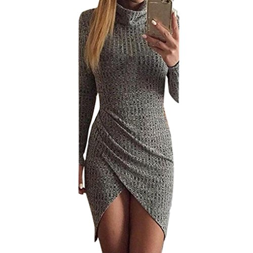 ff29c6a8fb520 AmyDong Hot Sale! Ladies Dress, Sexy Fashion Women Solid Long Sleeve Party  Split Pencil Dress Polyester Mini Skirt Nightclubs High Collar (L, ...